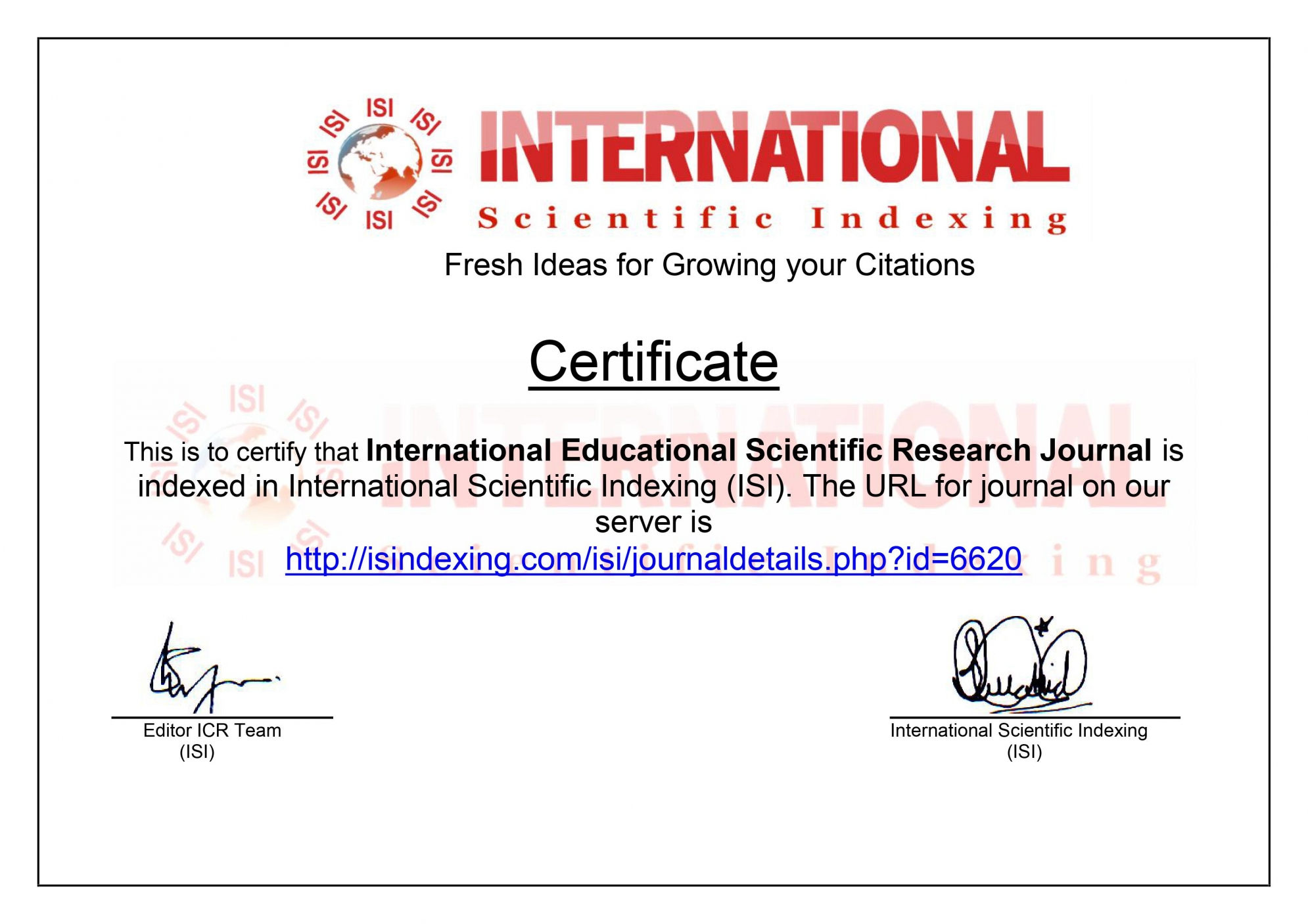 International Scientific Indexing (ISI)
